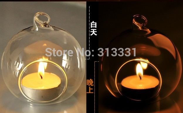 Party Decorations 100 pieces 8cm Glass Globe Wedding Hanging Tea Candle Holder(China (Mainland))