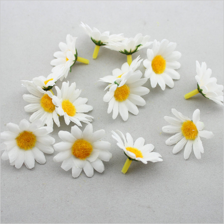 "2014 New 1.6"" DIY mini white daisy flower silk flower with yellow centre for straw wedding decor hat accessories(China (Mainland))"