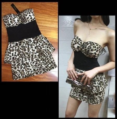 Free shipping 2014 spring fashion slim hip slim one-piece dress female sexy tube top leopard print dress(China (Mainland))