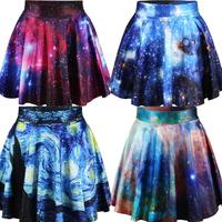 East Knitting New 2014 summer women pleated skirts Galaxy Starry Night SKIRT Saia S M L XL plus size