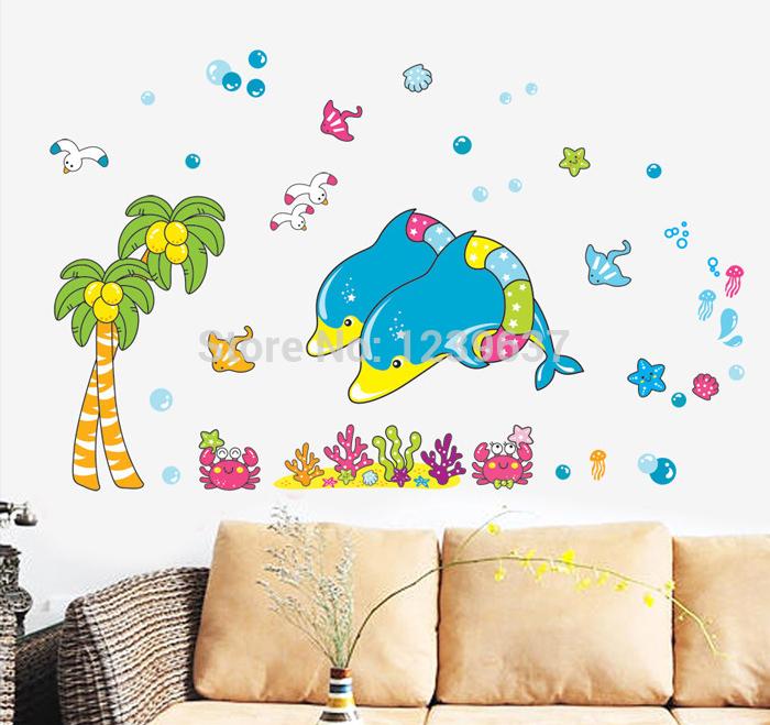 schattige dolfijnen muur stickers, kinderkamer kwekerij badkamer ...