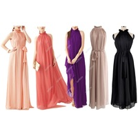 Women's Ladies Chiffon Ruffle Neck Sleeveless Evening Ball Gown Long Dress