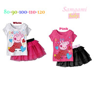 Free shippin-Lovely baby teenage girls fashion clothes the peppa pig girls t shirt+skirt suit for girl