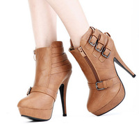 New 2014 spring autumn women fashion high heel ankle boots  buckle zip medium canister leather pumps shoes Free shipping