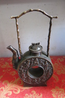 Rare Old Ming Dynasty(1536---1588) copper dragon teapot,8 fairy,with carving&mark, free shipping