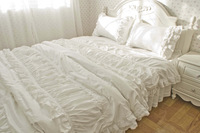 Luxury Korean embroidered lace ruffle bedding sets,snow white lace duvet covers/comforter sets,twin queen king full