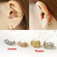 2014 fashion ear cuff fashion gold silver cutout flower crown crystal no pierced clip earrings ear cuff for women boucles bijoux