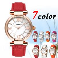 2014 SINOBI Women girl Rose golden Leather Quartz watches Fashion Quartz Women's Watches waterproof  7-color Free shipping