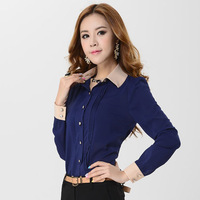 New women's XXXL Plus size Black\White\Blue chiffon Blouses&Shirts career ladies' long sleeve shirt with tie 2014 summer