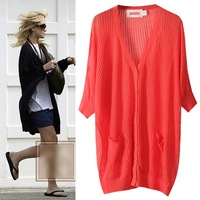 2014 spring and summer loose medium-long cutout plus size sweater female fifth sleeve sun protection clothing air conditioning
