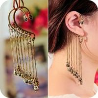 Fashion vintage accessories long design punk tassel rivet earrings ear hook stud earring single