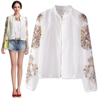 Lourie jacket flower chiffon white female jacket cardigan sun protection shirt