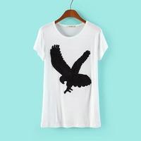 New Women Super Diva Eagle Embriodery Short Sleeve T-shirt Ladies Tops 7013305002