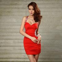 Red New Fashion Sexy Women Nightclub Club Dresses Clubwear Temptation Backless Lady Slim Hip Dress