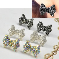 1pairs Hot sell Girls Lovely Rhinestone Crystal New Bow Tie Ear Studs Bowknot Earrings