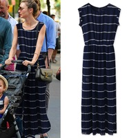 2014 navy bohemia beach dress female long design one-piece dress