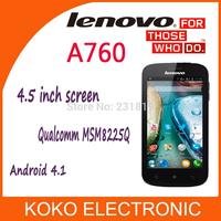 Original lenovo A760 smartphone unlocked phone 4.5 inch screen Qualcomm MSM8225Q quad core 3G WCDMA phone Android