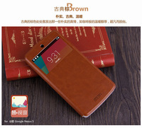 4Color,MOFI Luxury Genuine Flip Leather Case for LG Nexus 5,High Quality Stand Thin View window Cover case