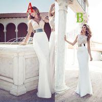 2014 Julie Vino Fashion Crystal Vestidos De Noiva Deep V-Neck Sheath Mermaid Wedding Dresses Chiffon Bridal Gowns