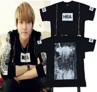 US hip hop HBA  hood by air Personality double zip skeleton spinal cord bones pattern print lovers t shirt  yy17
