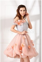 Wholesale - A Line Little Pinke Graduation Dress With Strapless Backless Flower And Organza