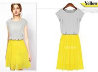 New 2014 Summer Fashion Knitting Chiffon Blended Dress O-neck Short Sleeve Yellow Blue S XXL Women's Clothing DRESS-251330