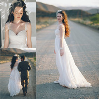 Beach Wedding Dresses 2014 A Line Sweetheart Neckline Tank Sleeves Flowy Chiffon Bridal Gown Amazing Dress For Bridal KM-48