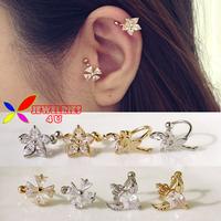 2014 fashion gold silver copper flower fairy wings snow zircon crystal no pierced clip earrings ear cuff for women boucle bijoux
