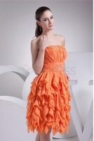 Wholesale - Column Little Pinke Graduation Dress With Strapless Pleats Backless And Chiffon