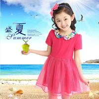Free Shipping Summer 2014 Girl short-sleeve Dress children's clothing peter pan collar princess one-piece Dress Kids Dress