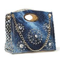 Free Shipping New Arrival 2014 shoulder bags women rhinestone handbags jeans messenger bags women totes BA0021