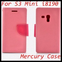 i8190 Mercury Fancy Diary Flip Case Folio Case Wallet leather Case For samsung S3 Mini 50pcs DHL Free Shipping