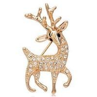 Korean Fashion Jewelry Fine Sparkling Deer shaped Brooch CZ Diamond Couple Lovers Gift Wholesale XZ-002