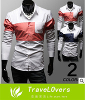 2014 New Fashion Hot Selling Color Patchwork Men's Casual Long Sleeve Shirt  TSP1270
