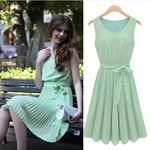 2014 Hot Sell Korean Solid Charming Dress Sleeveless Draped Bohemian Knee-length Dresses Green Women's Clothing DRESS-251435