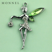 A06b Best Popular Wholesale 5 pcs Green Crystal Wing Tinkerbell Fairy  DIY Charm