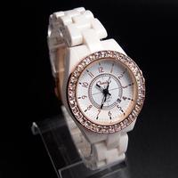 Wholesale High Quality Gold&Silver Simulate Ceramics Watch Fashion Crystal Dress Quartz Wristwatches For Women K503