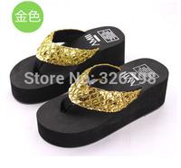 Sequins flip-flops cool slippers Summer wedges slippers