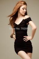 Retail Korean version V-neck Sexy & Club women summer dress new 2014 casual dresses vestidos sexy dress Slim hip dress Black