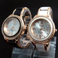 2014 New Brand Classic Rose Gold Tone Crystal Watch Women Ladies Fashion Dress Quartz Wristwatches TW038