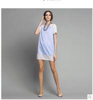 2014 summer new women's round neck short-sleeved dress stitching gauze fashion European style dress Polyester Casual dress loose