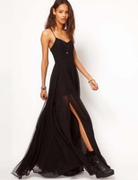 2014 Fashion double layer floor black spaghetti strap full chiffon women's summer dresses S,M,L,XL,XXL (D00002)