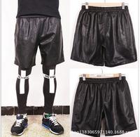 2015 Fashion Men Brand Slim Fit Short Trousers Punk Hip Hop Leather Shorts Pyrex Vision