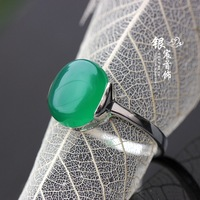 Silver jewelry LAOYINJIANG 925 pure silver green agate ring vintage silver thai silver women's ring