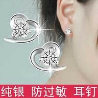 925 pure silver stud earring Women  heart Style crystal zircon accessories anti-allergic
