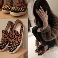 2014 round toe leopard print rivet low canvas shoes simple cow muscle outsole casual female shoes flat