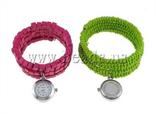 Free shipping!!!Fashion Watch Bracelet,New 2013 Jewelry, Zinc Alloy, with Wood, mixed, nickel, lead & cadmium free, 23x23mm