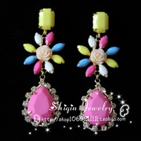Multi-colored rose shourouk exaggerated dangle earrings