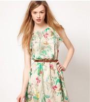2014 new European and American floral chiffon dress sleeveless fashion dress with belt