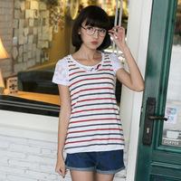 2PCS 2014 new women lace tops striped partten 100% cotton blouse o neck short sleeve t shirt suit women clothing SZD-8452